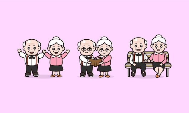 Set of couples grandparent international day of old persons character design