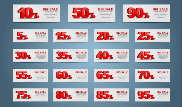 Set of coupon banners