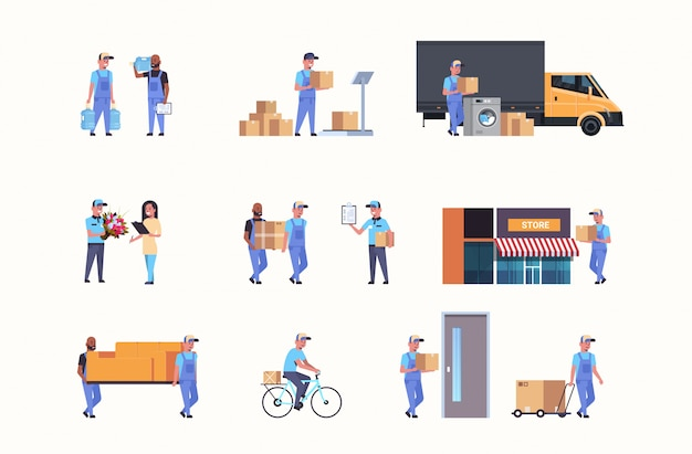 Set couriers in different working situations express delivery service s collection