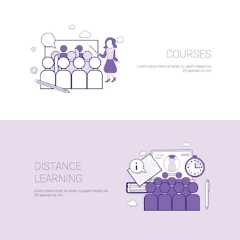 Set of courses and distance learning banners business concept template