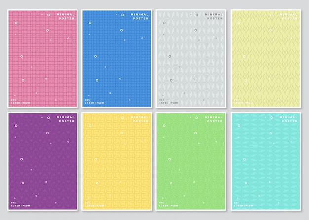 Set of cover abstract colorful minimal covers pattern design.