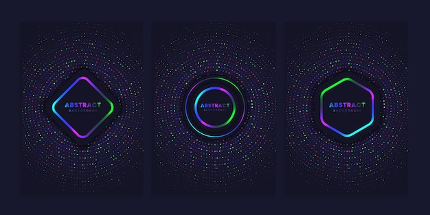 Set of cover background with bright circles