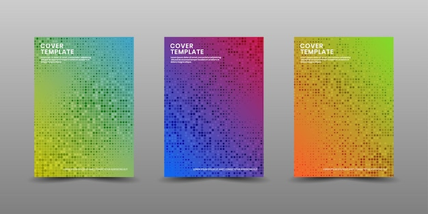 Set of cover business template with colorful halftone