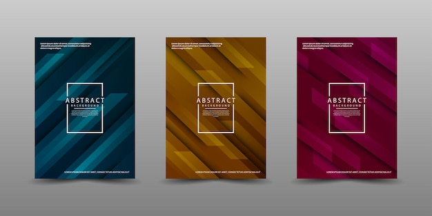 Set of cover business template with movement style