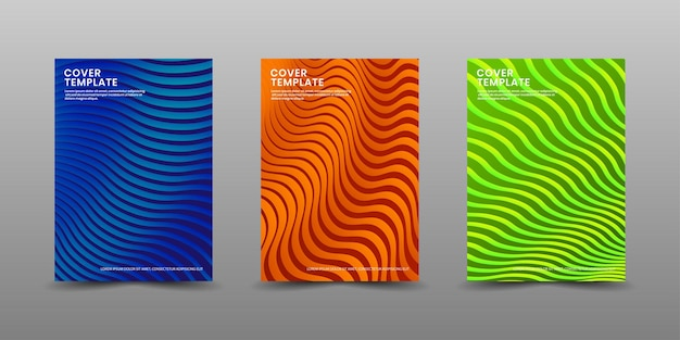 Set of cover business template with waves texture