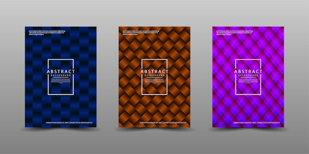 Set of cover design template with 3d abstract pattern