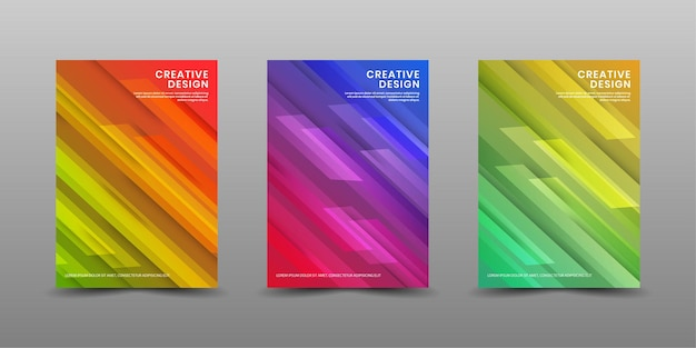 Set of cover design template with colorful geometric abstract shapes