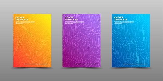 Set of cover design template with colorful halftone waves