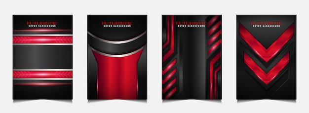 Set cover design template with futuristic red and black background