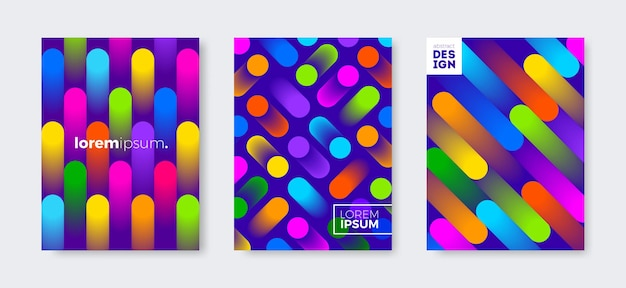 Set of cover design with abstract multicolored gradient shapes