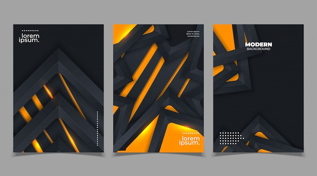 Set of cover template design in abstract style