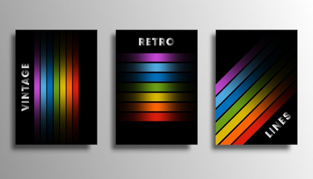 Set of cover with colorful gradient lines for flyer
