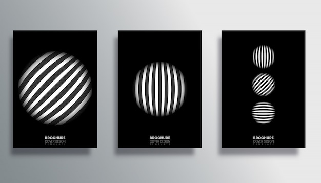 Set of cover with striped circle poster set