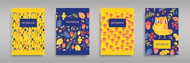 フクロウと野生の森の自然を持つノートブックのカバーを設定します。児童書、パンフレット、学校の日記のテンプレートのデザインに。