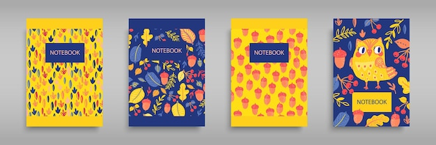 Set covers for notebooks with an owl and wild forest nature. for the design of children's books, brochures, templates for school diaries.