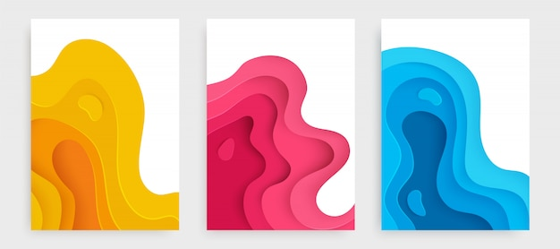 Set of covers slime abstract yellow, pink and blue.