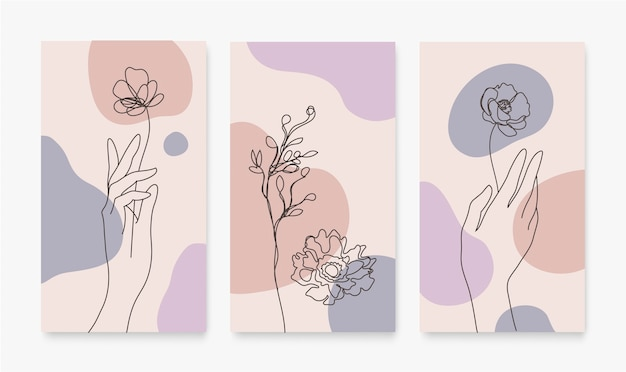 Set of covers for social media stories cards flyer poster mobile app banners and other promotion continuous line hand drawn hands florals leaves