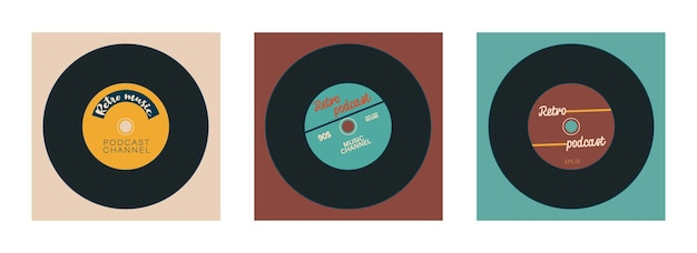 Set of covers for vintage podcast channel vinyl record with place for text