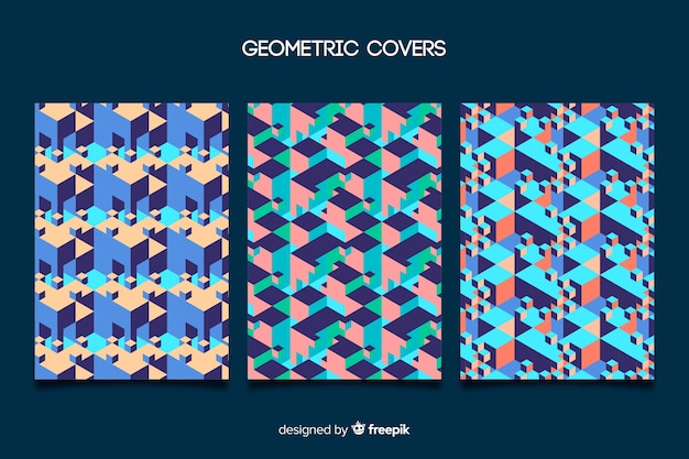 Set of covers with colorful geometric design