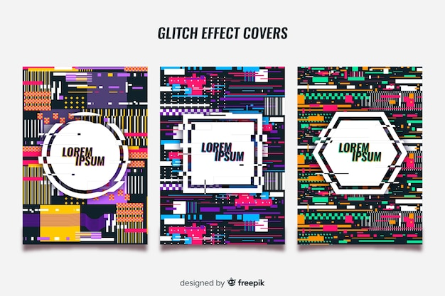 Set of covers with colorful glitch effect
