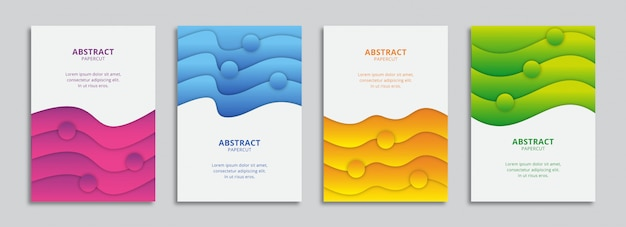 Set of covers with colorful wavy shapes