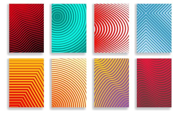 Set of covers with geometric halftone designs in various colors