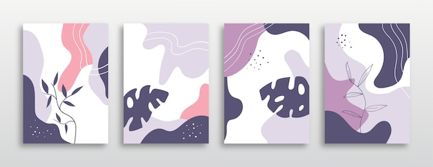 Set of covers with trendy exotic plants   with pastel colors.
