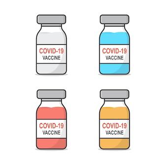 Set of covid-19 coronavirus vaccine. bottle of vaccine flat