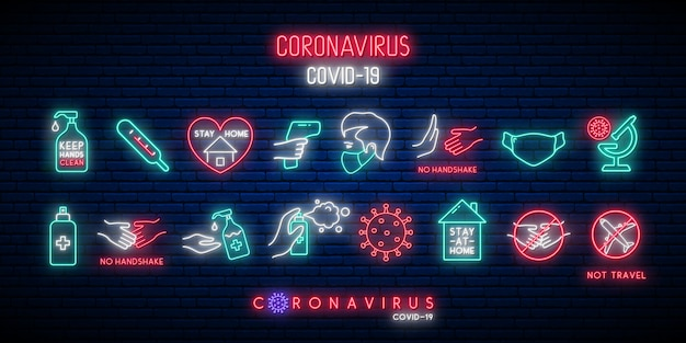 Set of covid-19 protection icons in neon style.