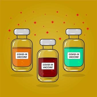 Set of covid 19 vaccine in 3 collors