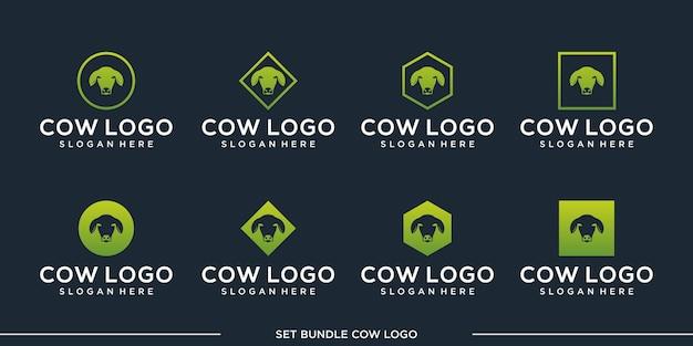 Набор векторных логотипов cow премиум