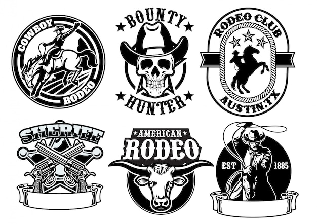 Set of cowboy badge