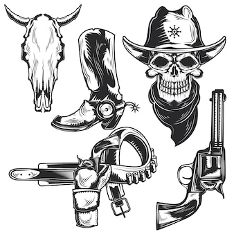 Set of cowboy elements for creating your own badges, logos, labels, posters etc.