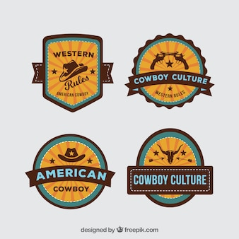 Set of cowboy labels and badges