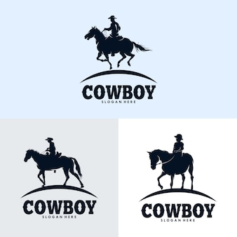 Set of cowboys riding horse silhouette logo