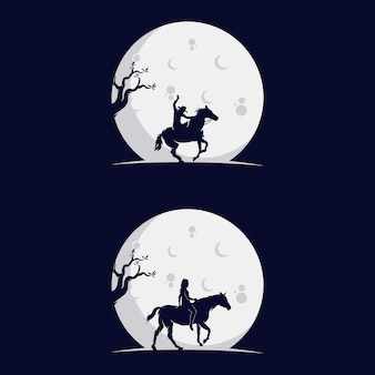 Set of cowboys riding horse silhouette in the moon