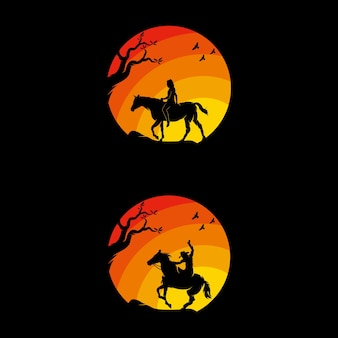 Set of cowboys riding horse silhouette at sunset