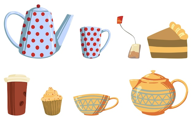 Set of cozy autumn or winter tea party. vector illustrations of teapots and mugs, paper cup, homemade cakes, tea bag. cartoon colored clipart isolated on white.
