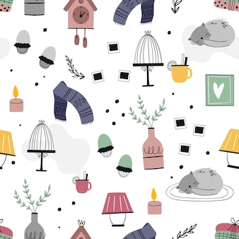 Set of cozy home elements illustration.