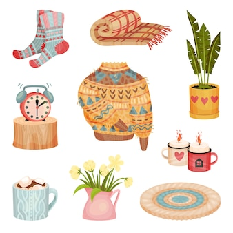 Set of cozy things  isolated on white