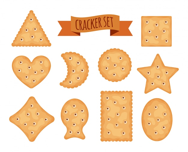 Set of cracker chips different shapes isolated on white background.