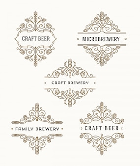 Set of craft beer and microbrewery flourishes emblems and logo - illustration
