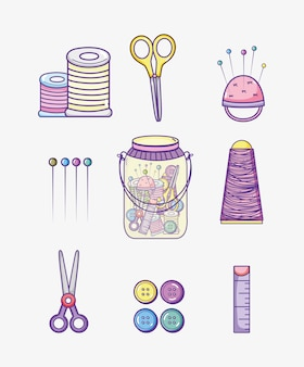 Set of craft supplies collection