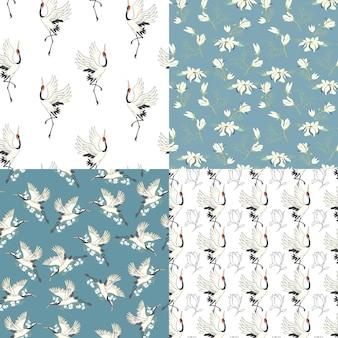 A set crane patterns. seamless patterns. vector, illustration