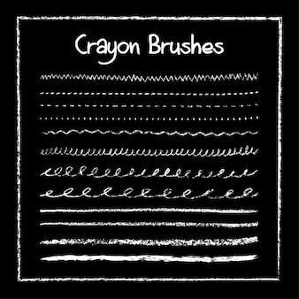 Set of crayon brushes