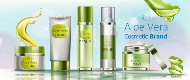 Set of cream and serum cosmetics for skin care. aloe vera cosmetic brand