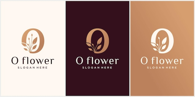 Set creative 0 letter flower logo template in sumptuous colors o flower