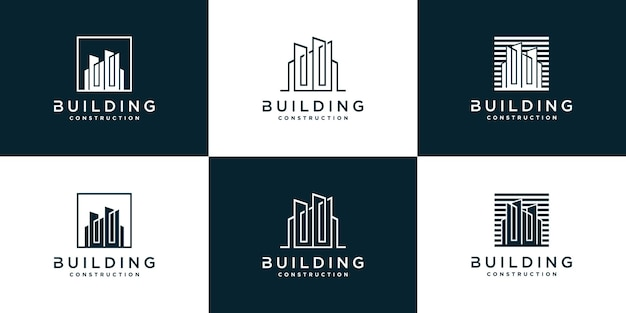 Set of creative abstract building logo template for company  premium vector