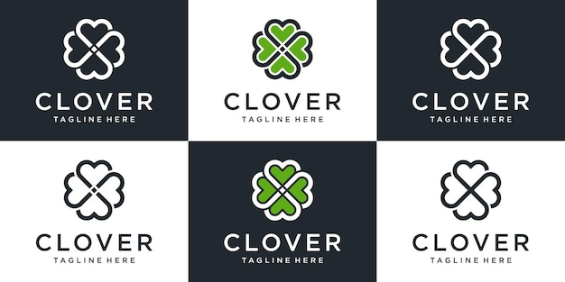 Set of creative abstract clover logo with line art design collection.