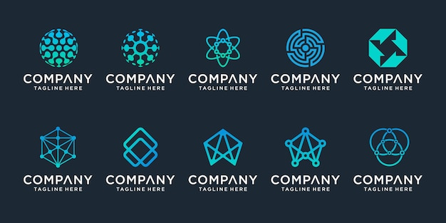 Set of creative abstract digital technology logo . the logo can be used for technology, digital, connection, electric company.